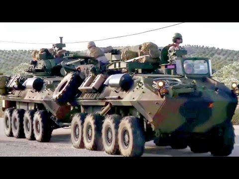 U.S. Marines Light Armored Vehicles Convoy Through Spain