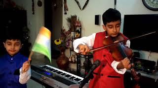 'Sare Jahan Se Acha' by Taksheel on Violin: karaoke on Piano prepared by Taksheel