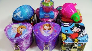 Disney Princess Mickey Mouse Jewelry Box Frozen Surprise Egg Kinder Joy Egg Shimmer & Shine Ring