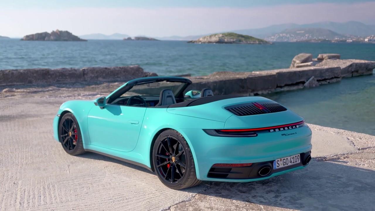 2020 Porsche 911 Carrera S Cabriolet in stunning Miami Blue \u2013 Official video