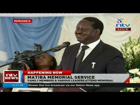 'Fare thee well Matiba, Pass our greetings to Jomo and Jaramogi' - Raila at Matiba memorial service