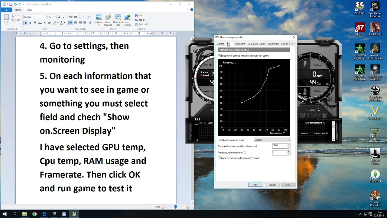 How to monitor your temperatures and FPS with MSI Afterburner ?? WORKING!!