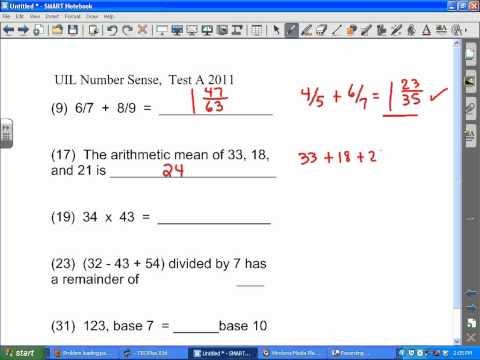 UIL Number Sense Test A 2011