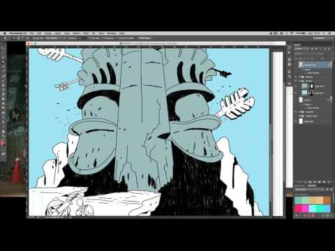 Crom colouring a splash page