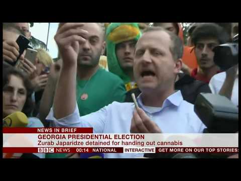 Presidential candidate handed out cannabis at rally (Georgia) - BBC News - 21st October 2018