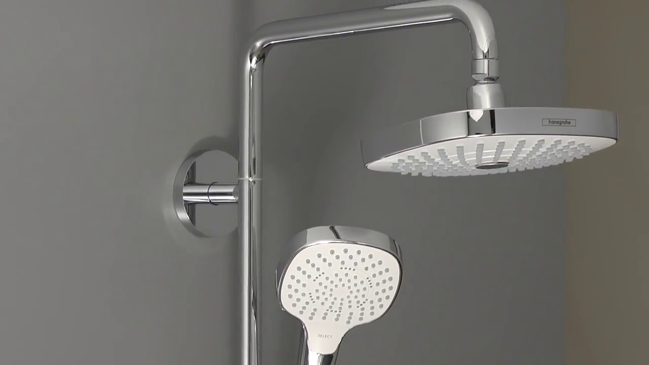 hansgrohe croma select e 180 2jet showerpipe youtube. Black Bedroom Furniture Sets. Home Design Ideas