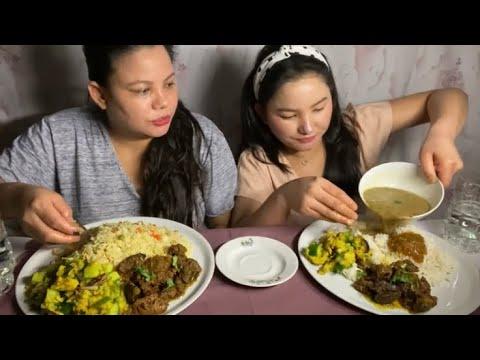 पुलेउ chicken कलेजो पांग्रा fresh rice kalo dhal Nepali mukbang.