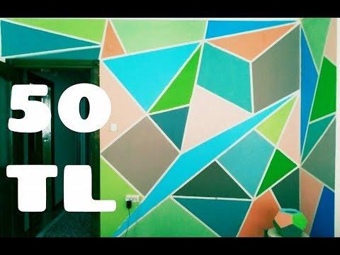 Geometrik Duvar Boyama 50 Tl çok Kolay Youtube