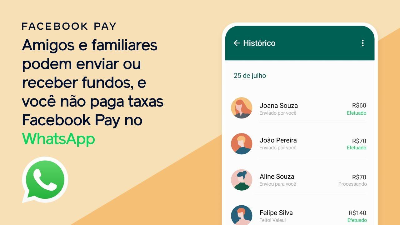 Amigos e familiares podem enviar ou receber fundos, e você não paga taxas | Facebook Pay no WhatsApp