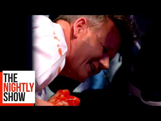 Gordon Ramsay Cuts His Finger in a Blender!