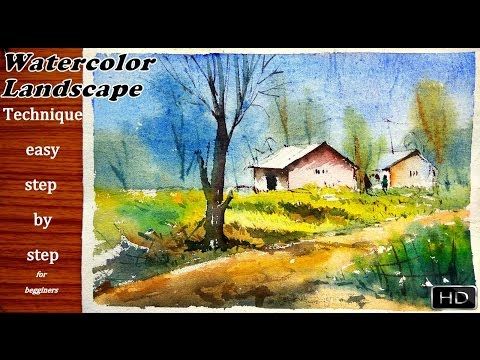 Watercolor landscape tutorial : How to paint a simple plain air watercolor easy process 2