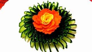 Чудесная роза из моркови и украшения из огурца & Как красиво нарезать овощи - Украшения стола