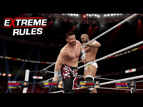 Extreme Rule 2016 Cesaro vs The Miz vs Kevin Owens. vs Sami Zayn Intercontinental champion WWE-2K16