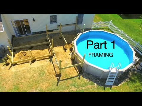 Level Pool Deck With Trex, How To Build A Raised Deck Around An Above Ground Pool