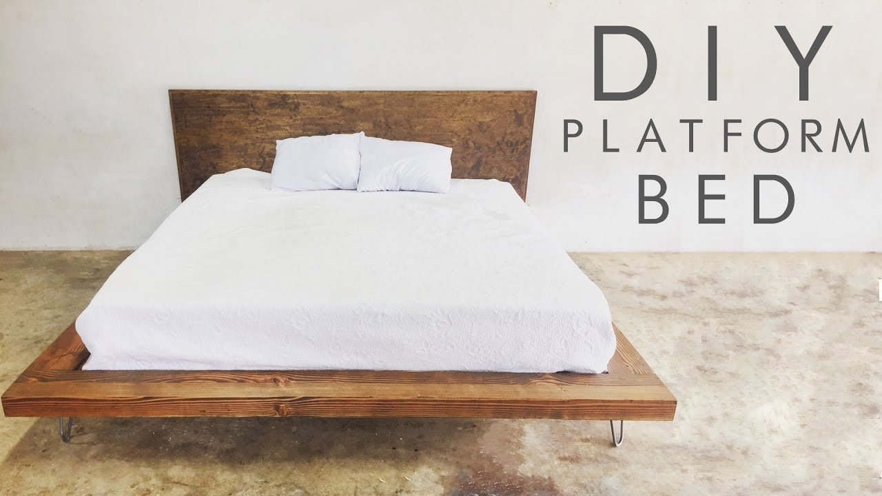 diy modern platform bed  modern builds ep   youtube -