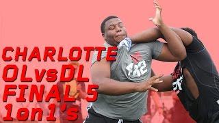"""Charlotte OL vs DL """"Final 5"""" 1 on 1"""