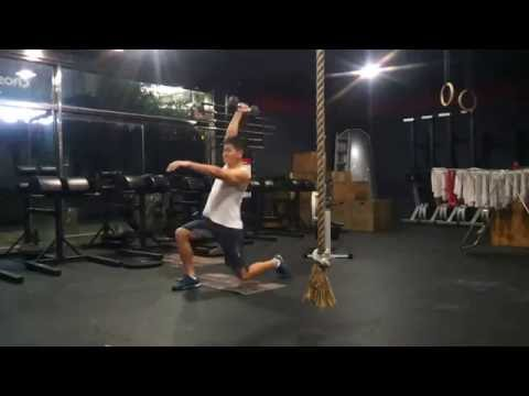 CrossFit ILC Training Log - One arm DB walking lunge / Row / Weighted sit-up
