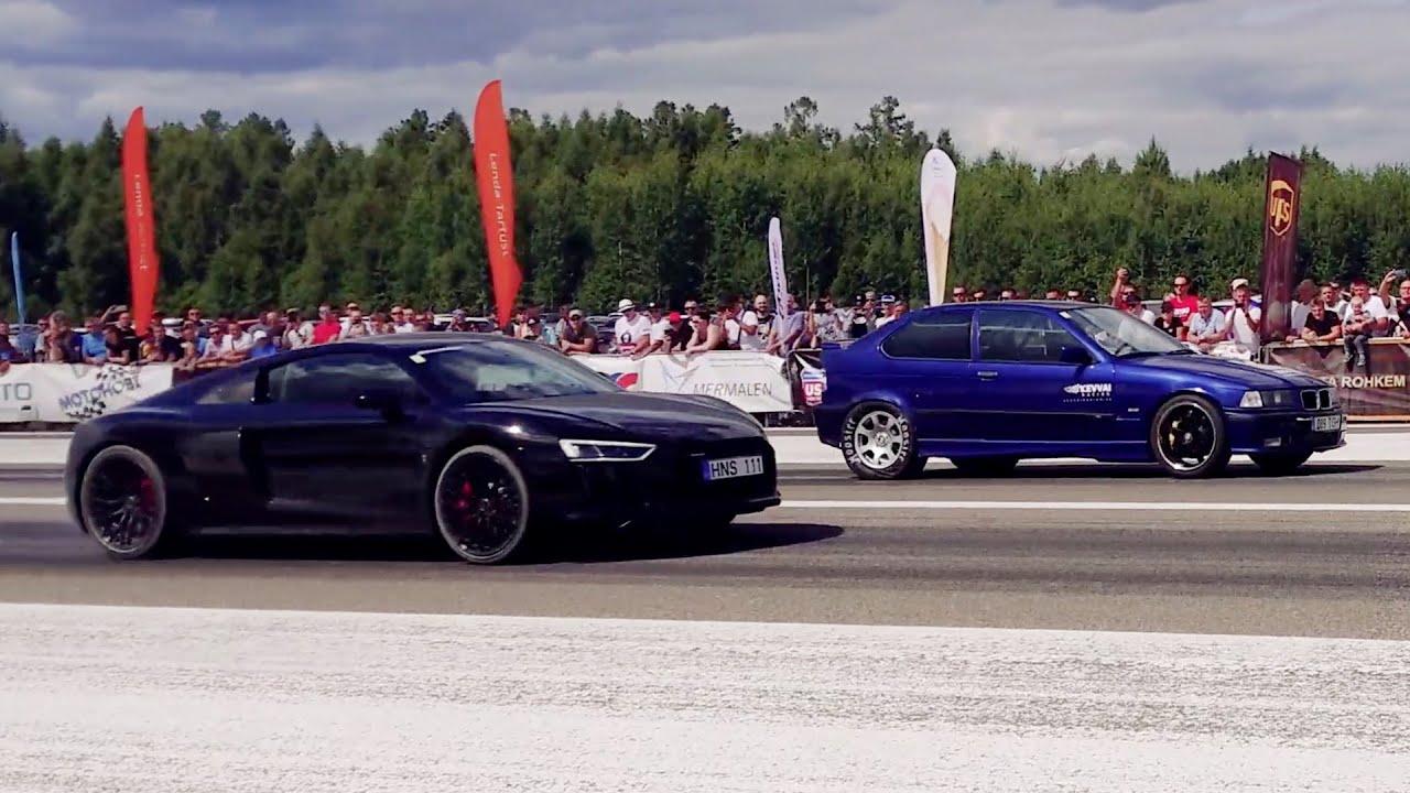 2JZ BMW E36 Compact 3.0 Turbo vs 2017 Audi R8 5.2 V10 1/4 mile drag race