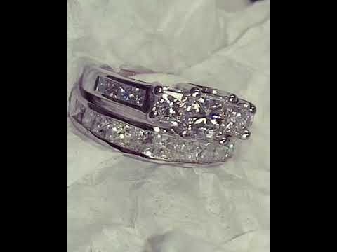 3cttw 14k White Gold Engagement Set