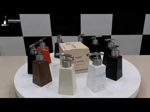 Bình Sứ Đựng Dầu Gội Sữa Tắm 160ml  Mẫu 3 Vòi Inox 304 [gomsusonghong.com] Gốm Sứ Bát Tràng