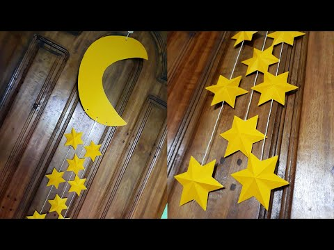 Super Easy DIY Paper Wall Hanging (Moon & Star)|| Paper Crafts || Handmade Decoration||Nafsi's Craft