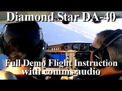 How to fly an airplane (Diamond Star DA 40 ) demo flight training instruction lesson (comms inc.)