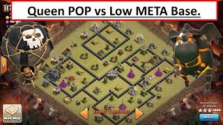 Queen POP vs Low TH9 META Base Build. Easy 3 STAR Attack. Clash of Clans