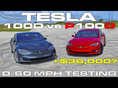 What does a 1 second difference from 0-60 MPH Look Like?  Tesla P100D vs 100D Drag Racing