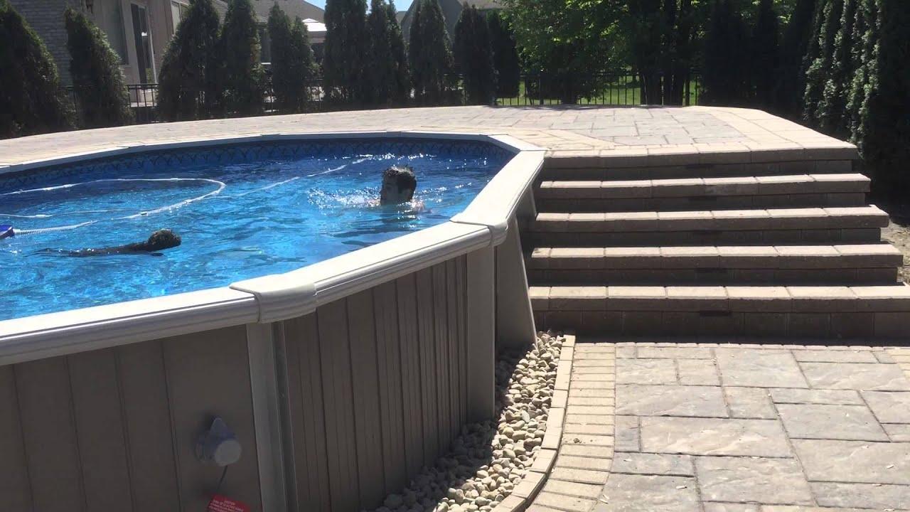 Ground Pool Wrap around Pool Deck Ma b Michigan