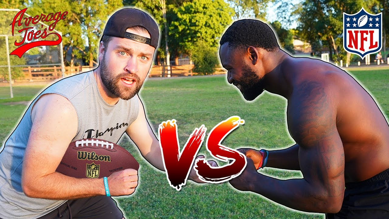 Challenging NFL PLAYER to FOOTBALL CHALLENGE (Loser gets a pie to the face)