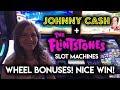 First Time Getting The WHEEL BONUS on The Flintstones Slot Machine! Nice WIN!