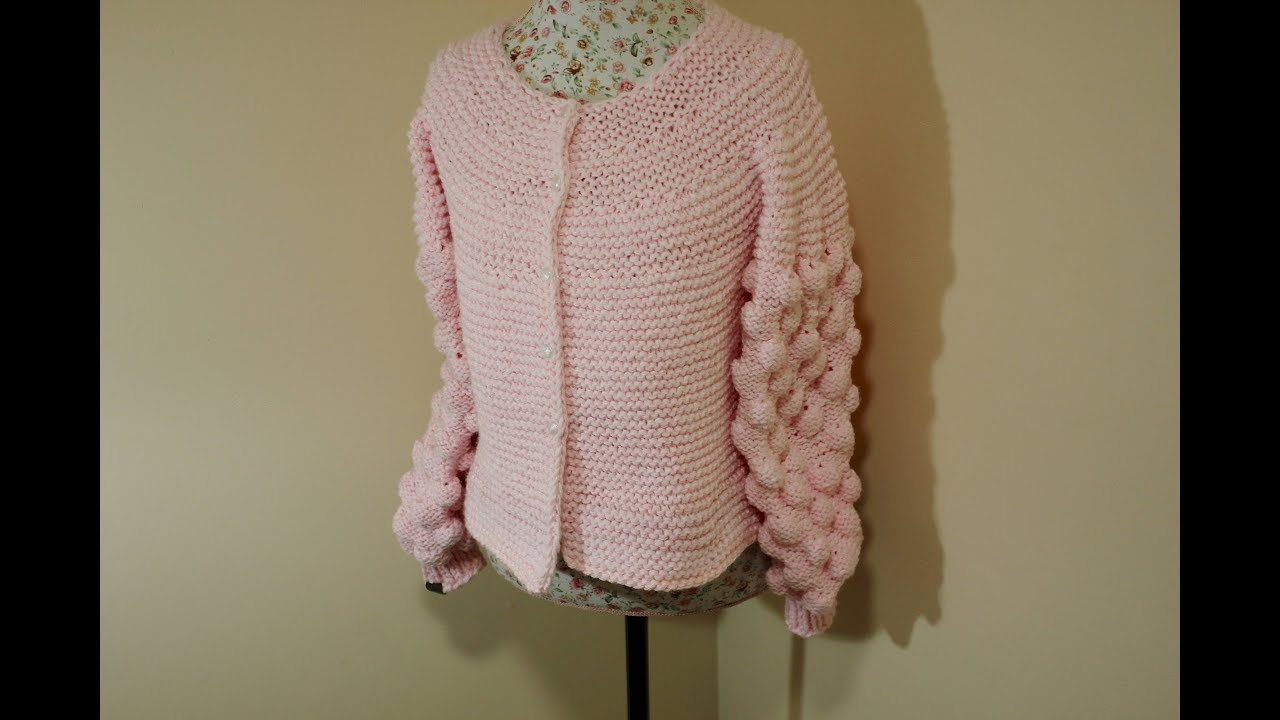 f56747623 How to knit the Bobble or Bubble Cardigan - YouTube