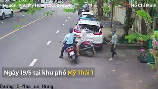 Bảo vệ vây bắt cướp giật túi xách trong khu đô thị