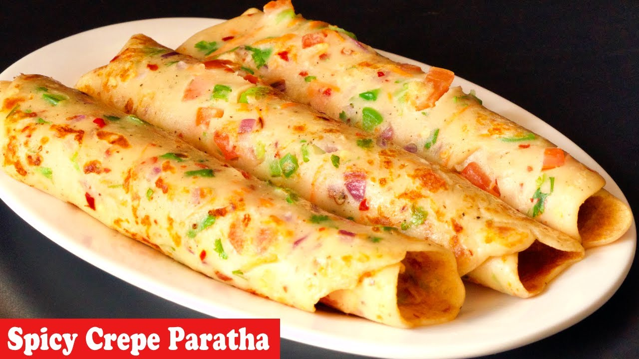 Spicy Crepe Paratha, 5 Mins Easy Breakfast Recipe, Easy Snacks Recipe,instant crepe paratha