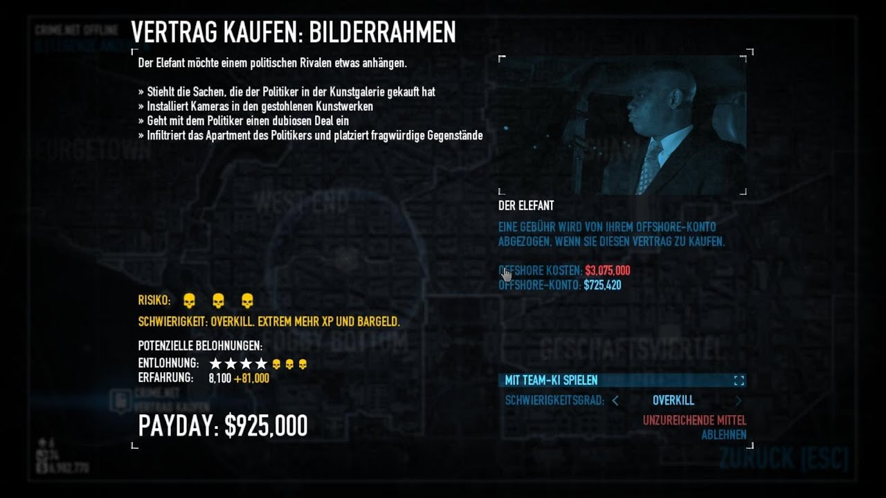 Payday2 Bilderrahmen Overkill Stealth Tag 1 Solo - YouTube
