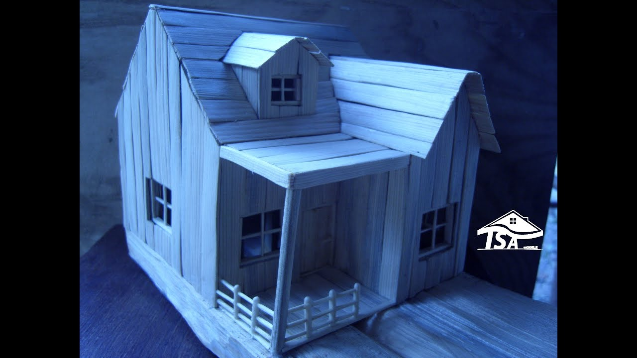 How to make a wooden model house youtube for How to make a house step by step