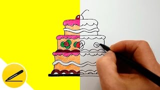 КАК НАРИСОВАТЬ ТОРТ - Учимся рисовать Большой Торт на День Рождения ребенку