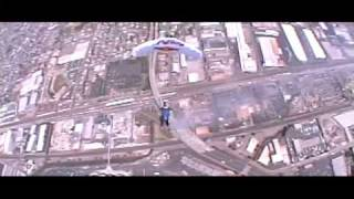 Red Bull Airforce Skydiving & Landing into the Oakland Raiders Stadium