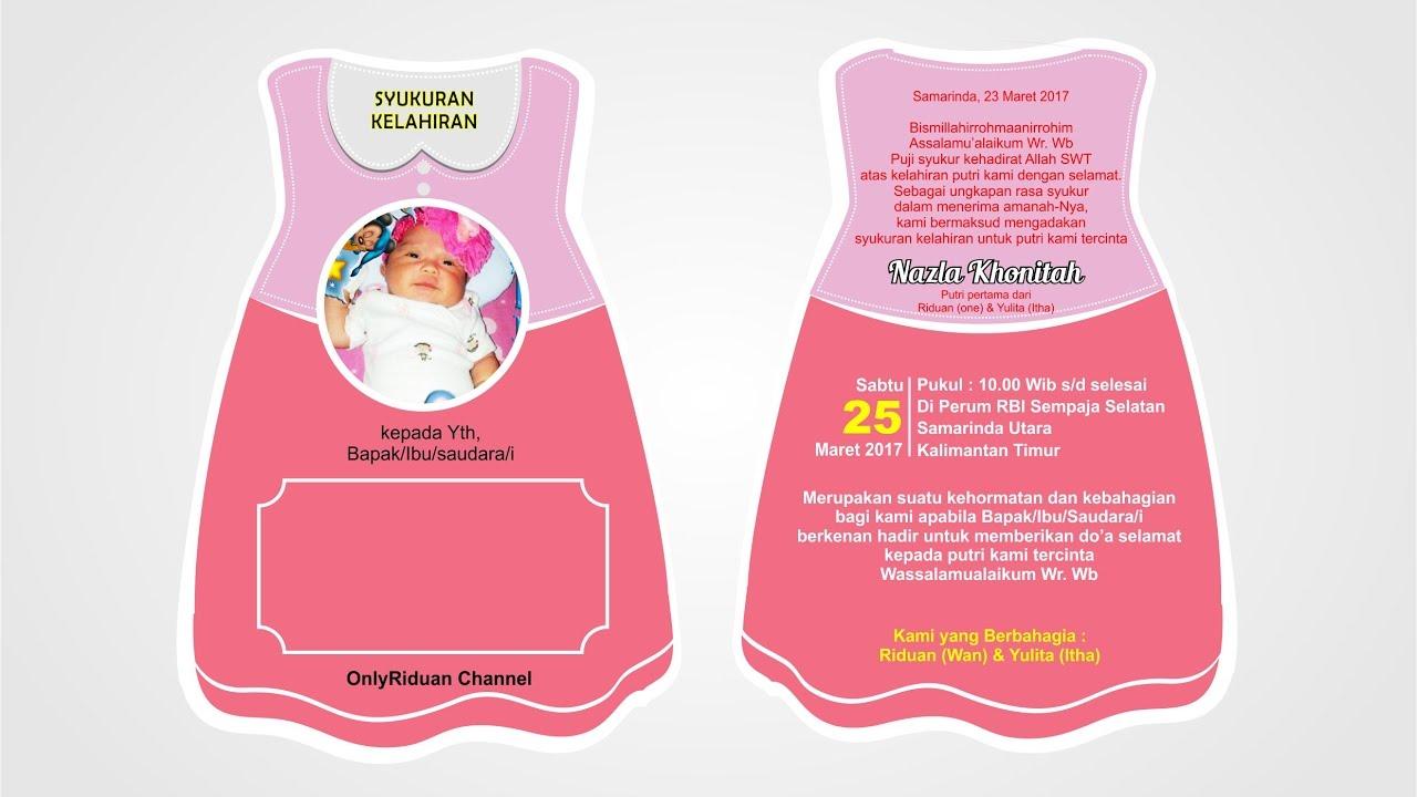 Desain Undangan Syukuran Kelahiran + Print - Tutorial ...