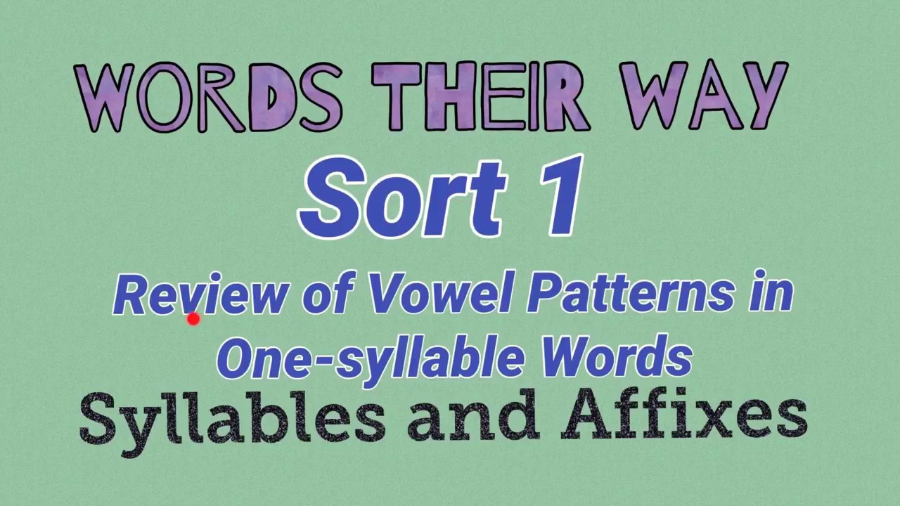 sort 1 review of vowel patterns in one syllable words words their