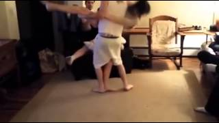 Girl makes guy tap out