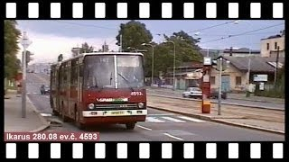 Provoz autobusů a tramvají PID v Poděbradské  ulici, 1998