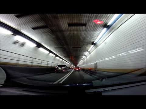 Holland Tunnel - westbound at night. New York. USA