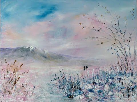 Зимний пейзаж акрилом.