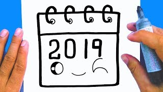 How to draw a cute New Year Calendar 2019 Draw cute things