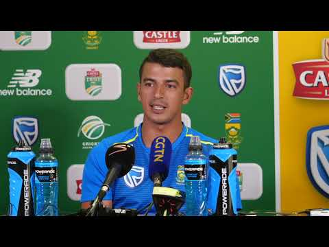 Zubayr Hamza speaks to the media ahead of a possible Test debut