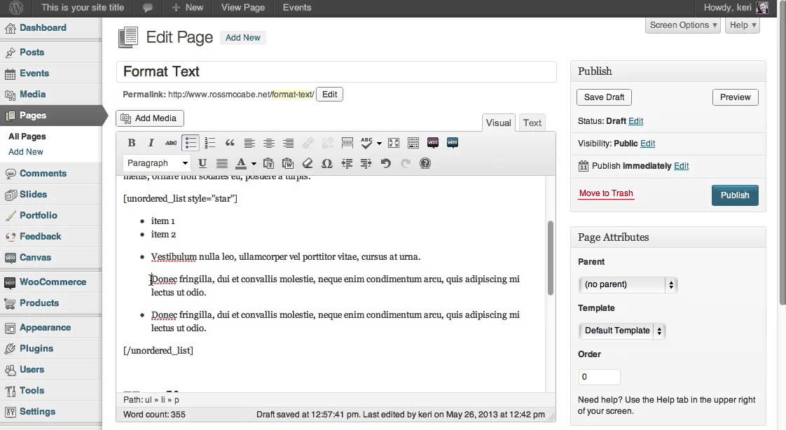How to format text on page - bullet and numbered list - YouTube