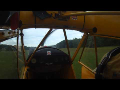 J3 Cub Landing on Grass Strip in Shelby County Alabama