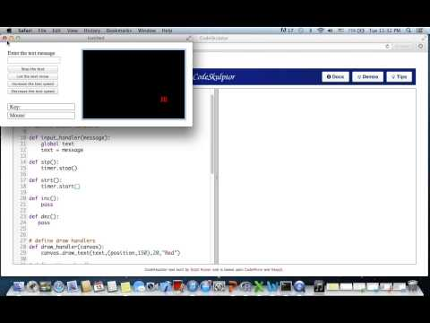 Python Programming  Timer driven running text message Codeskulptor