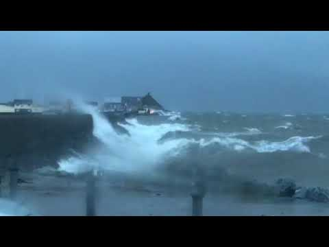 Atlantic storm Eleanor arrives at Fenit, Co. Kerry, Ireland. (HD vers. also avlbl)